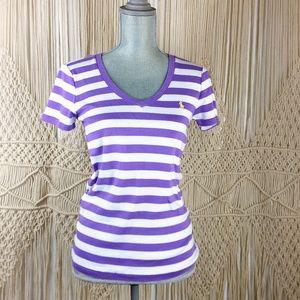 Ralph Lauren Purple & White Stripe Women's Blouse